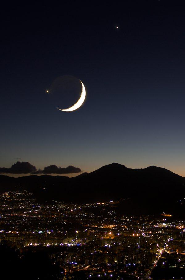 Luna Venere e Giove su Palermo
